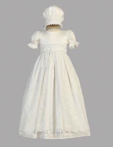 New Baby Girls White Silk Tulle Gown Dress Bonnet Christening