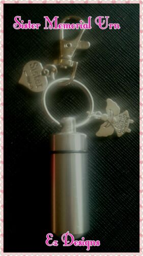 Cremation Ashes//keepsake Urn SISTER  Angel Charm Memorial Keyring  Freepost/&BAG