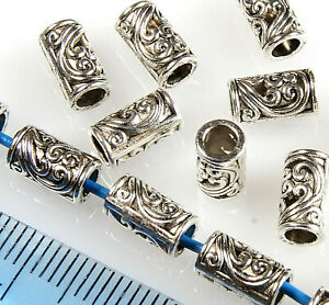 5 Solid Silver Tube Spacer Beads 925 Sterling Silver 8x5mm 63993-2133