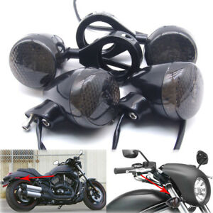 4x-Black-Front-Rear-Motorcycle-LED-Turn-Signal-Light-39mm-Fork-Clamp-For-Harley