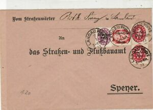Germany 1922 LandauPlalz  Multiple Cancel & official Stamps Cover ref 22946