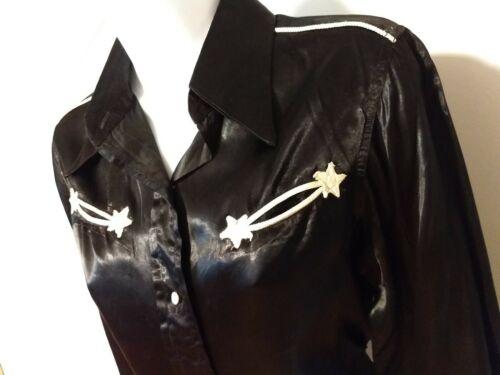 Vintage 30s/40s Western Black Satin Shirt Jubilee