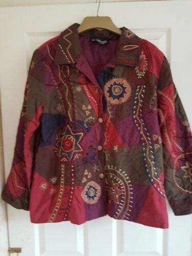 Jacket rouge Moon 48 Indigo Large l'or dorés Buste sequins pourpre brodé Size de à P5dd6wqO