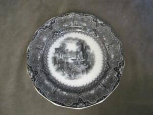 Black Transferware Staffordshire Plate Athens Cleaning The Oral Cavity. E1 1849 Antique W Adams & Sons