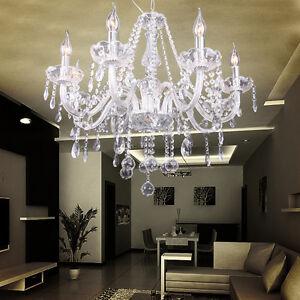 8-Licht-Glas-Kristall-Kronleuchter-Decken-Haenge-Leuchte-Lampe-Wohnzimmer-Light