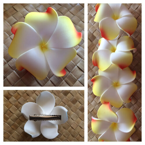 Hawaiian PLUMERIA FLOWER FOAM HAIR CLIP White Yellow Orange