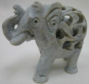 Hand-Carved-Stone-UNDERCUT-ELEPHANT-good-luck-figurine-Trunk-up-Raised-mom-baby