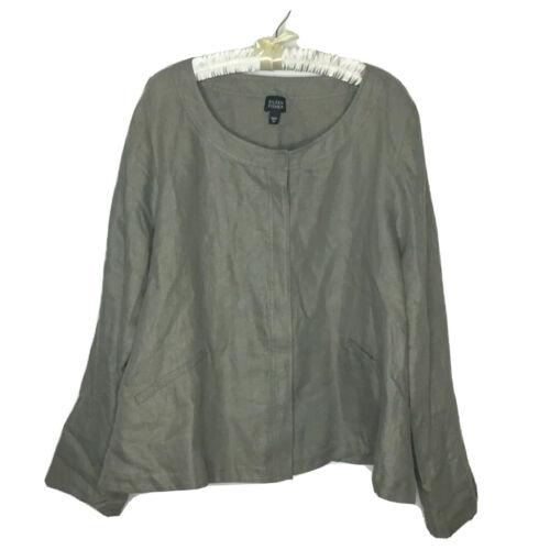 Eileen Fisher Linen Jacket Size XL Khaki Gray Boxy