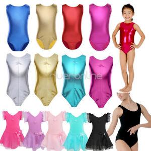 Girl-Kids-GYM-Leather-Bodysuit-Ballet-Dance-Leotard-Tutu-Dress-Costume-Dancewear