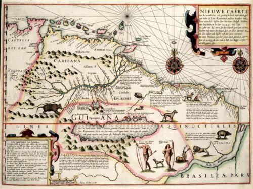 MAP ANTIQUE GUYANA CARIBBEAN SOUTH AMERICA ART POSTER PRINT LV2104