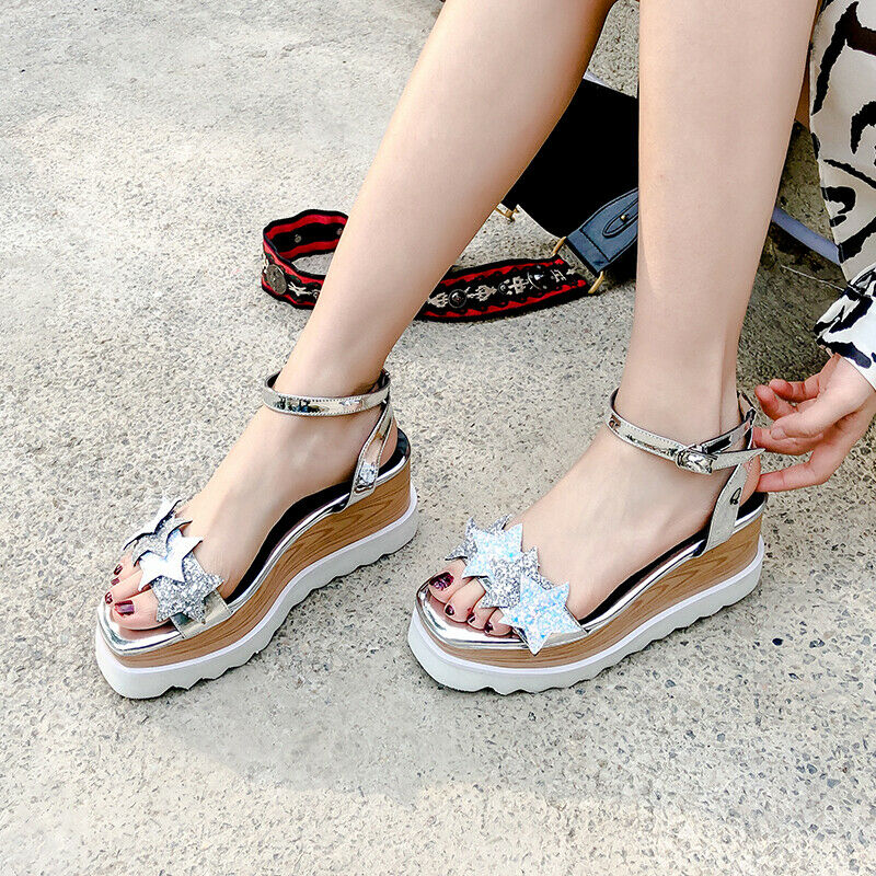 Fashion star sequin sandals women's plateau-sole summer wedge shoes buckle