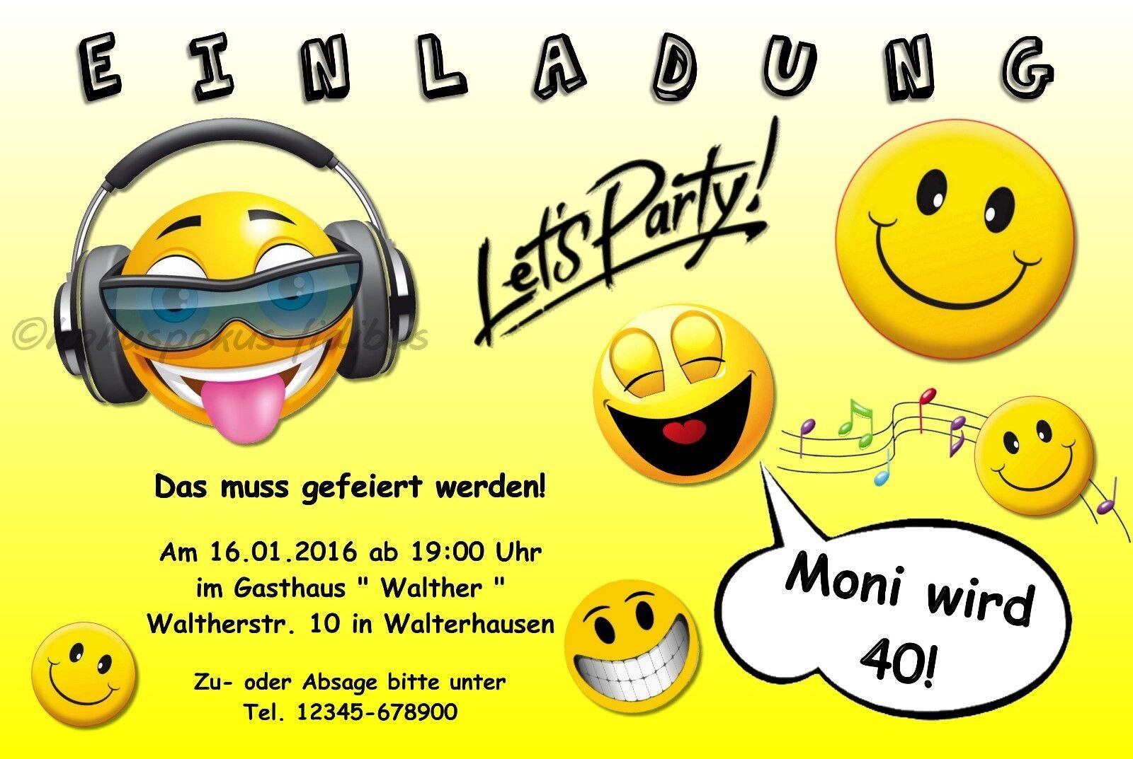 40 lustige Einladungskarten Geburtstag Einladungen Smiley JEDES ALTER 18 30 50   | Diversified In Packaging  | Angenehmes Aussehen