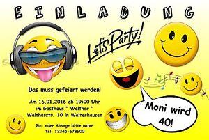 20 Lustige Einladungskarten Geburtstag Einladungen Smiley Party