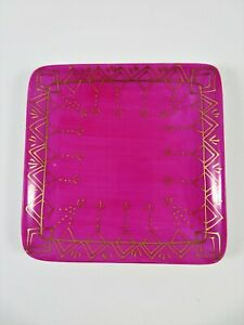 Gift-Gallery-Magenta-Pink-Square-Tray-Heavy-Porcelain-Hand-Painted-Gold-Gilt