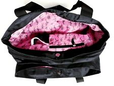 Girls Dance Bloch Multi-Compartment Tote Bag Black with Pink Dancers Lining 5b72803640522