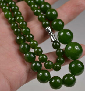 Chinese-ORIENTAL-VINTAGE-GREEN-JADE-TOWER-BEADS-NECKLACE