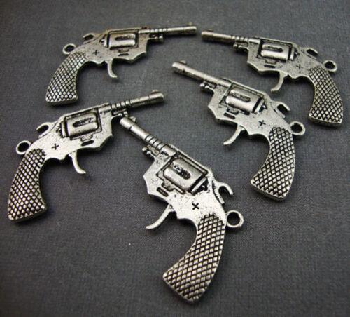 5 Antique Silver Plated Gun charms kitsch lg