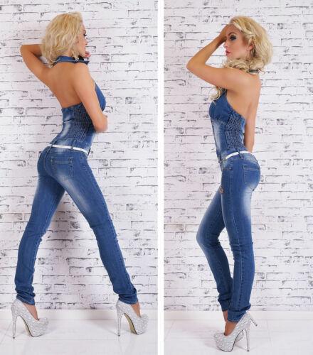 Women/'s Halter Denim Jeans Jumpsuit Skinny Overall Belt Included S,M,L,XL UK