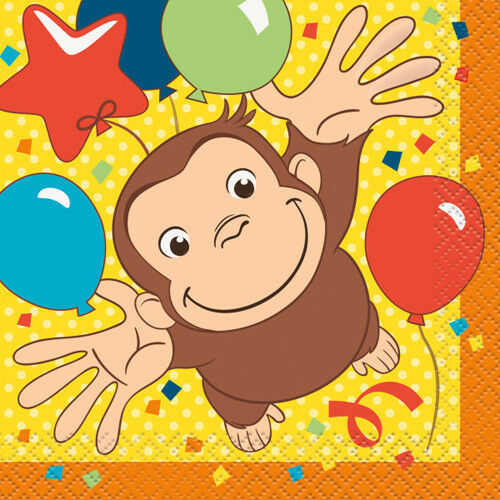 ~ Birthday Party Supplies Beverage 16 CURIOUS GEORGE Celebrate SMALL NAPKINS