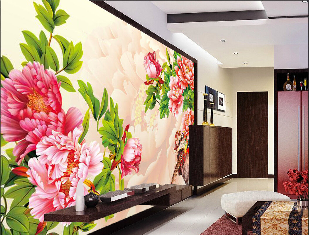 3D ROT Flower Leaves 724 Wallpaper Mural Paper Wall Print Wallpaper Murals UK