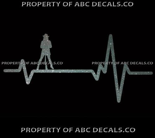 VRS Heart Beat Line HUNTING Cowgirl Cowboy Hat Gun Rifle Ammo CAR METAL DECAL