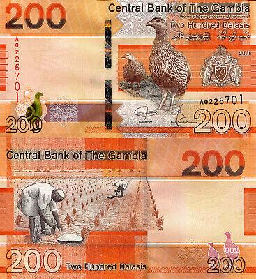 2019 Gambia 100 Dalasi Crested Crane//Men Fishing//pNew UNC