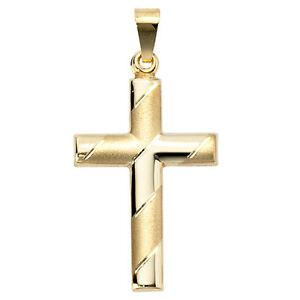Colgante-Cruz-Oro-Amarillo-333-MATE-PARCIAL-Pulido-Con-Diamante-Cruzado-H25-7