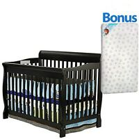 5 In 1 Convertible Baby Crib W/ Mattress Toddler Nursery Bed Changer Side