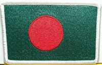 Bangladesh Flag Patch With Velcro® Brand Fastener Military White Border 8