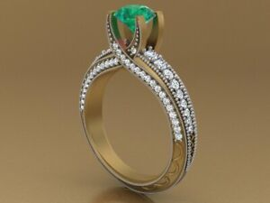 Beautiful Colombian Green 2.0ct Emerald Solitaire Gemstone Ring 925 Silver