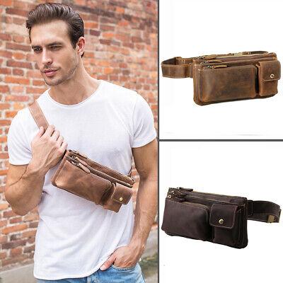 Men Leather Shoulder Bag Sports Running Waist Belt Bag Fanny Pack Bum Sling Bag