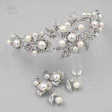 Pearl Crystal Headband Headpiece Tiara Earrings Bridal Wedding Jewelry Set  5454