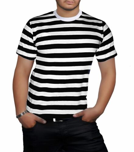 Mens Striped Short Sleeve T Shirt Adults Stag DO Party Fancy Dress Top Tees