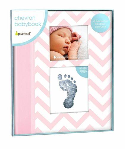 Pearhead p62205 Baby album CHEVRON ROSA con CLEAN TOUCH timbro Cuscino