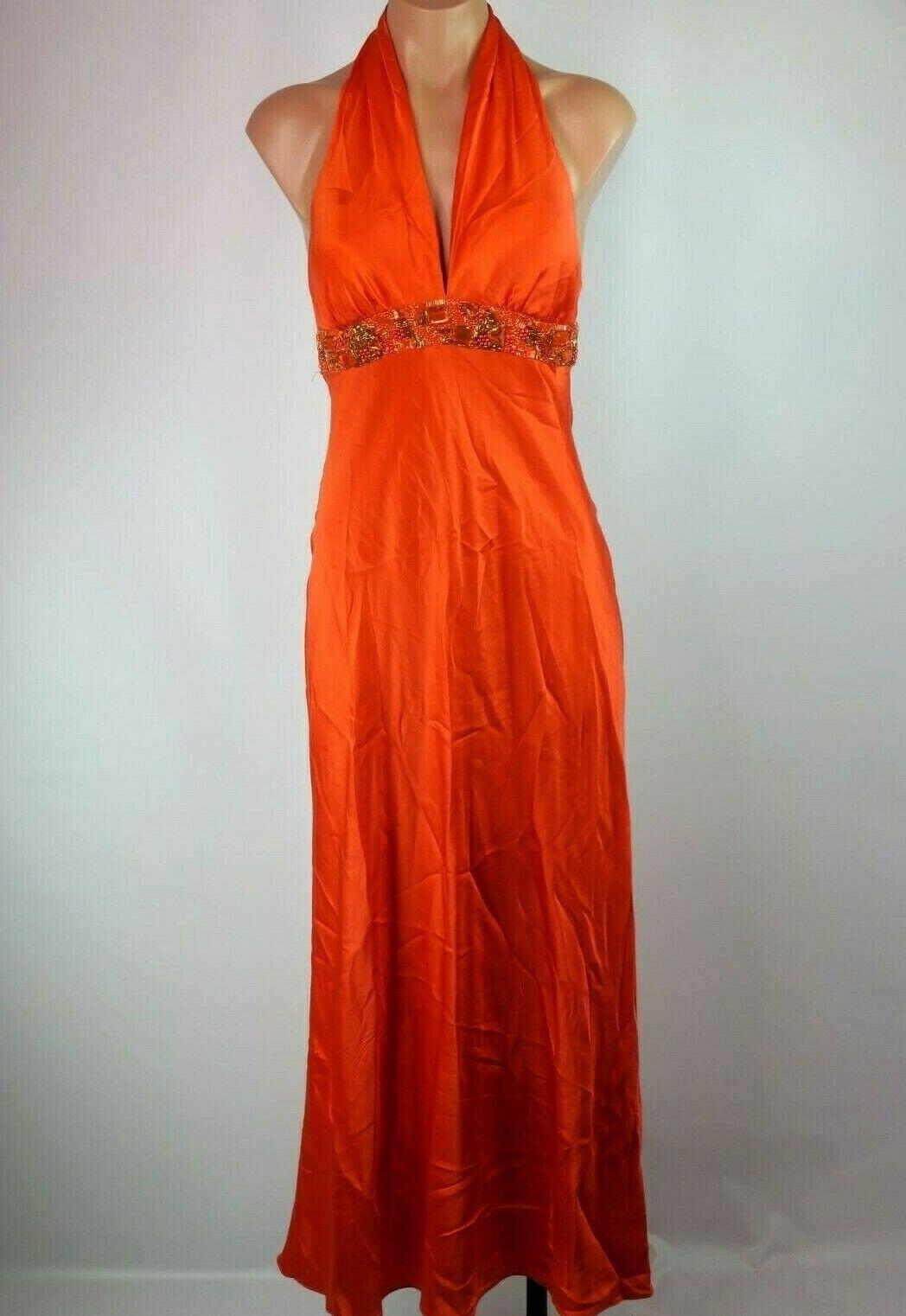 90s CACHE 100% Silk Orange Beaded Sequin Halter Slinky Slip Gown Dress Sz 2