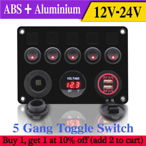 image is loading inline-fuse-box-led-5-gang-rocker-switch-