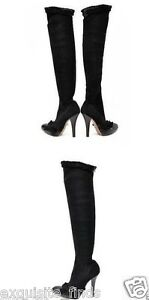 b6725cbc Details about A/W 2001 TOM FORD FOR YVES SAINT LAURENT BLACK OVER KNEE  BOOTS 37 - 7