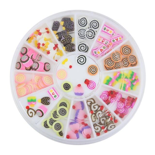 120 Pcs 3D Nail Art FIMO Slice BIRTHDAY CAKE CUPCAKE CANDY Face Decoration Wheel