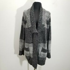 Chicos-Womens-Sweater-Cardigan-Sz-3-Striped-Ombre-Knit-Open-Front-Gray-Ribbed-XL