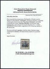 GENUINE POLAND SCOTT #21a USED OVERPRINT SISMONDO CERT GERMANIA  SOUND SCV $2250