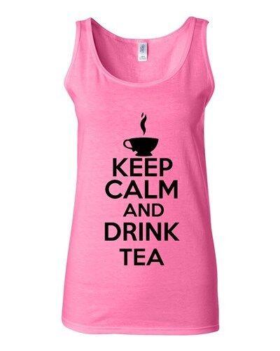 Junior Keep Calm And Drink Tea Beverages Novelty Statement Tank Top