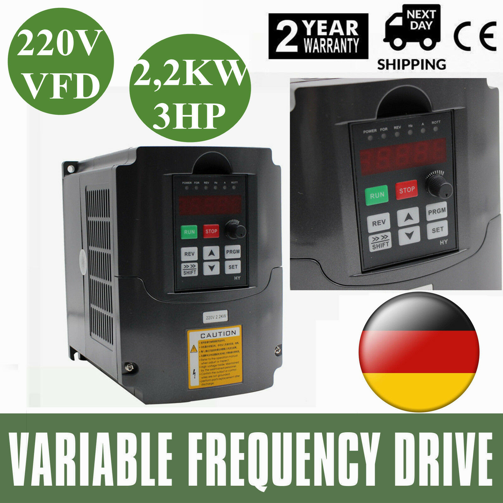 HY 2,2KW 220V 3HP 10A VARIABLE FREQUENCY DRIVE INgreenER VFD Frequenzumrichter DE