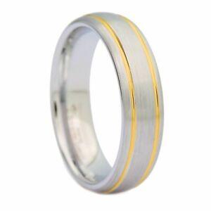6mm Brushed White Tungsten Carbide Ring 2 Gold Stripes MJ Wedding Band