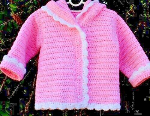 1781 2y hoodie girls boys CROCHET PATTERN Baby hooded jacket cardigan DK 6m