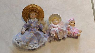 Muñecas Y Accesorios Muñecas Modelo Muñecas » Muy Buen Estado Straightforward Lote De 3 Muñecas Porcelana « Mini