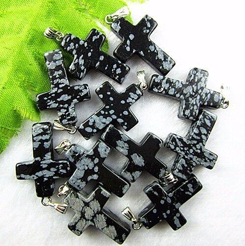 10PCS Beautiful unique black snowflake obsidian carved cross pendant bead Vk679