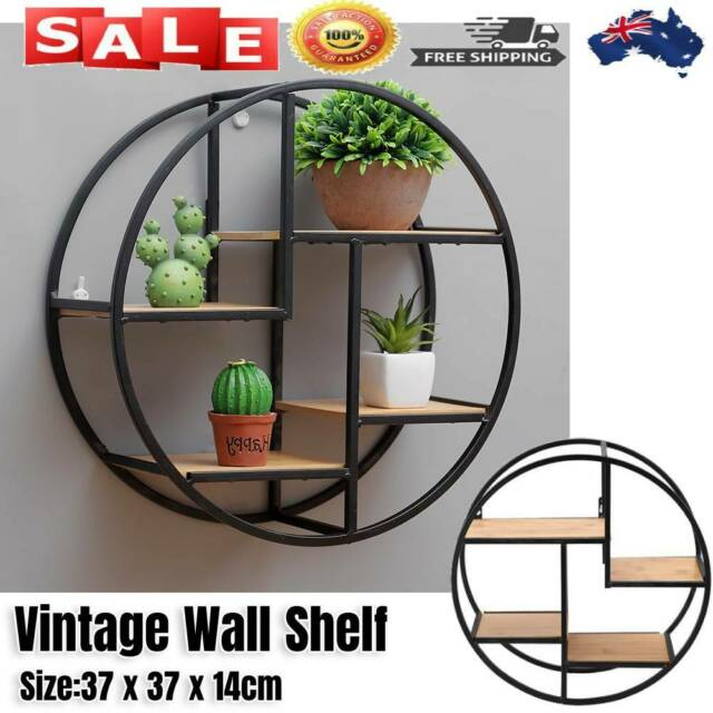 Industrial Wood & Metal Wall Storage Shelf Round Wall Display Rack Home Decor