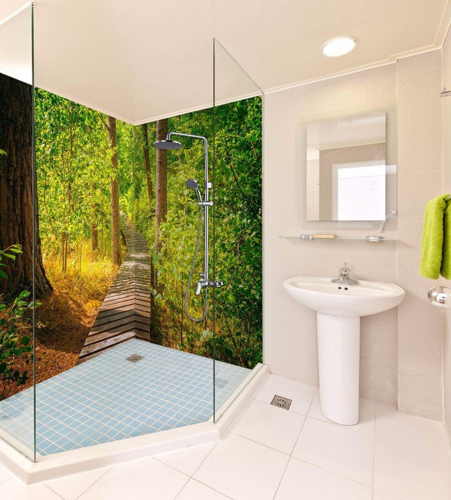 3D Forest Bridge Leaf WallPaper Bathroom Print Decal Wall Deco AJ WALLPAPER UK