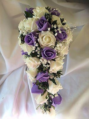 * Nuovo * Nozze Fiori Bouquet Della Sposa Doccia Lilla & Ivory Con Gyp £ 42.99- Eccellente (In) Qualità