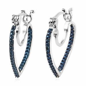 925 Sterling Silver Platinum Rhodium Plated Blue Diamond Hoops Hoop Earrings